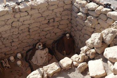 Old graves on Nazca desert, Peru, South America stock vector