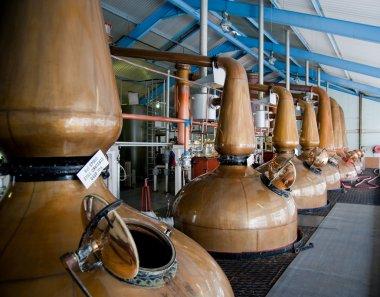 Islay whisky distillery stills stock vector