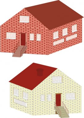 Brick small house isolated