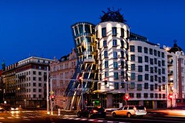 Night view of dancing house in Prague
