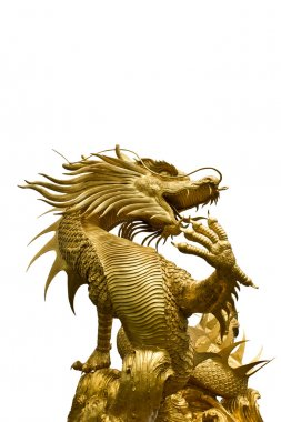 Colorful Golden Dragon Statue On White Background