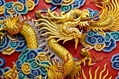 Golden dragon statue in chinese temple in Chonburi province Thai