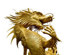 Photo Colorful Golden dragon statue on white background