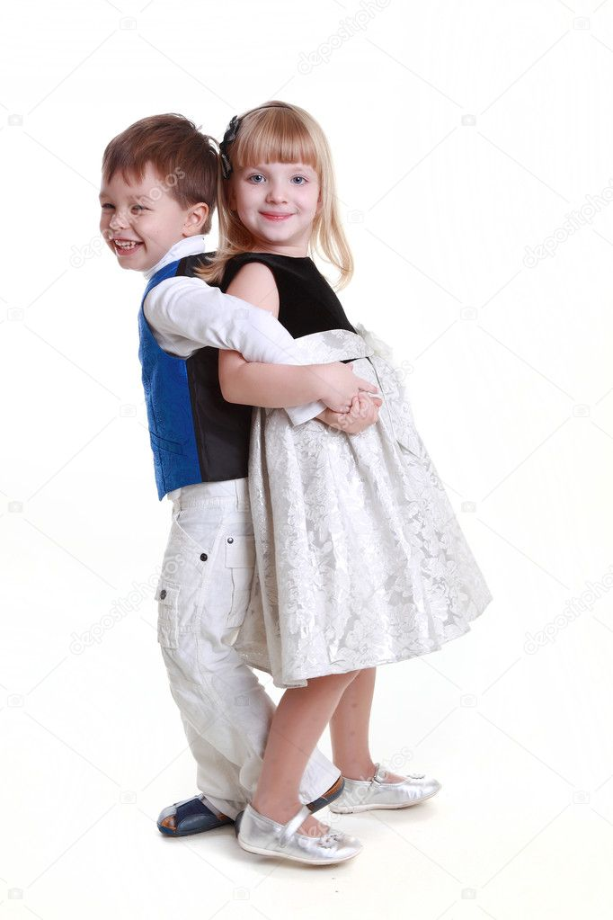 Playful young boy and girl