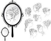 Fotografie Dámské účesy, zrcadlo