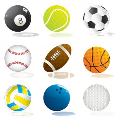 Set of different vector illustrated sport balls stock vector