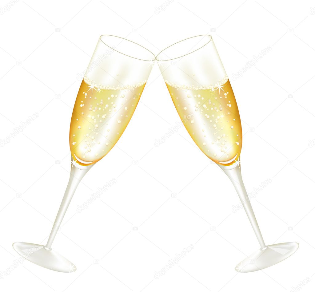 Two glasses of champagne stock vector azazelka 4456003 for Copas de champagne