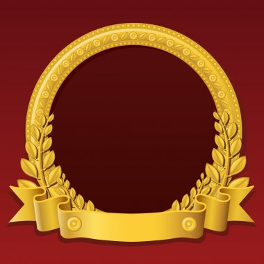 Round frame made of gold, decorated with different jewelry elements and golden ribbon stock vector