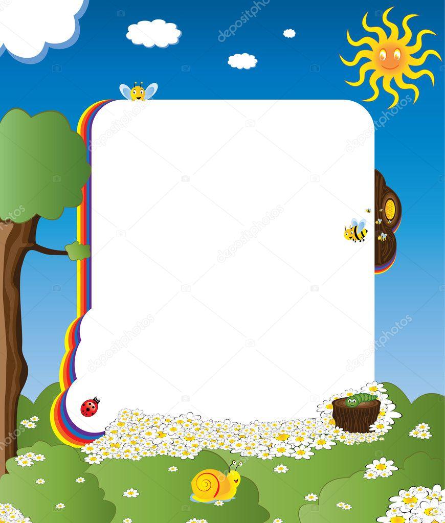 Cartoon-Rahmen mit glücklich Insekten — Stockvektor © gigello #4234632