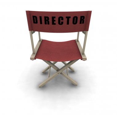 3D render of a directors chair on a white background
