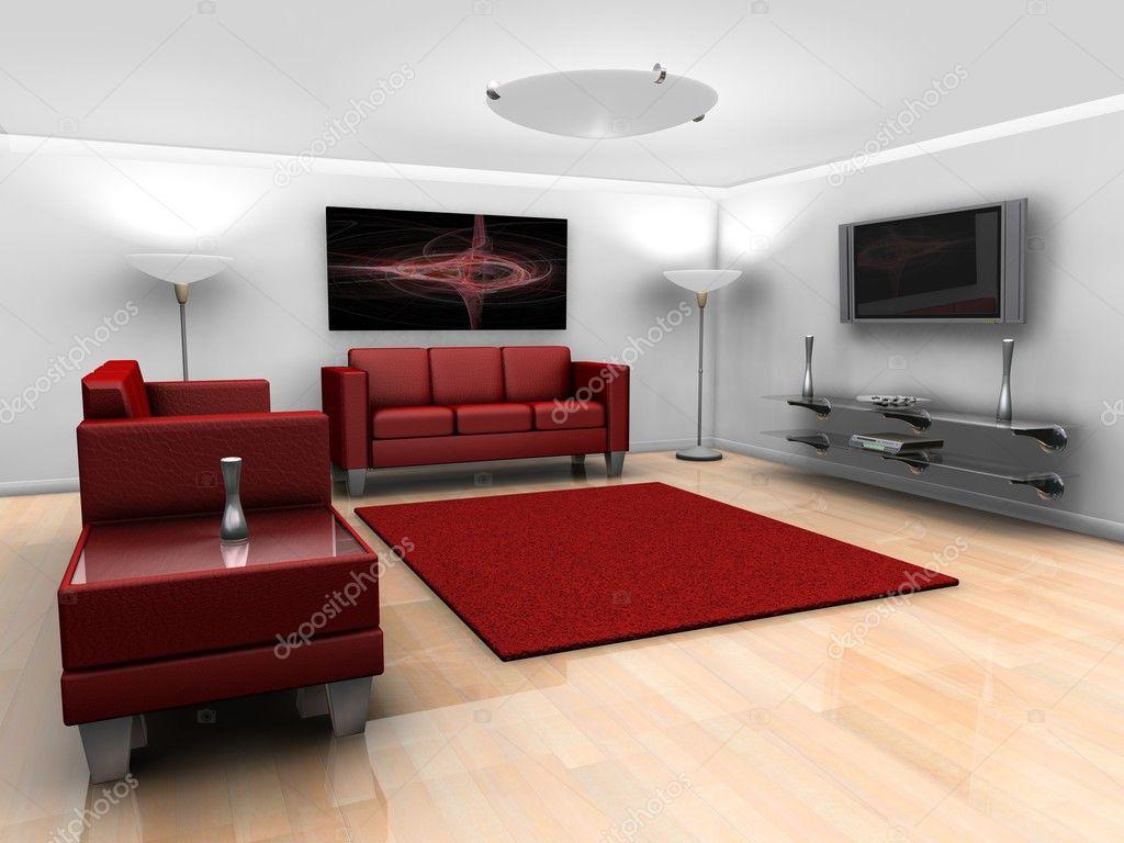 zeitgenössischen Stil minimalistisch Lounge mit Möbeln — Stockfoto ...