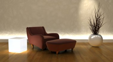 Contemporary arm chair and ottoman in moderen setting