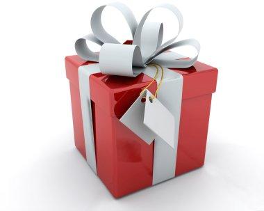 Gift Box with Ribbon and Tag