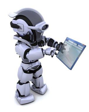 Robot navigating through computer window