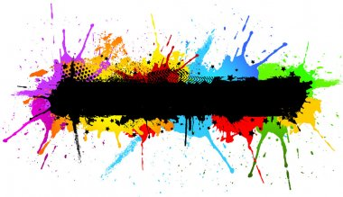 Abstract grunge background with colourful paint splats stock vector