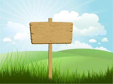 Wooden sign in grass against a blue sky stock vector