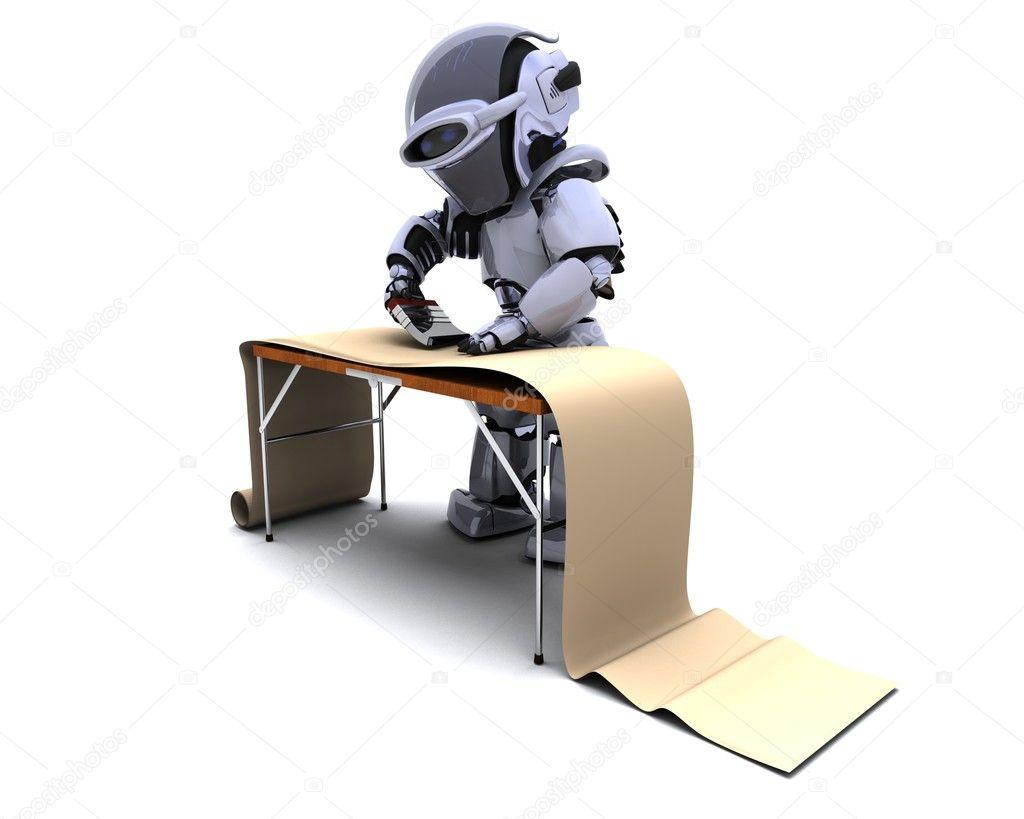3D Render Roboter Dekorieren Mit Tapete U2014 Foto Von Kjpargeter