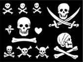 un insieme di bandiere pirata, teschi e ossa