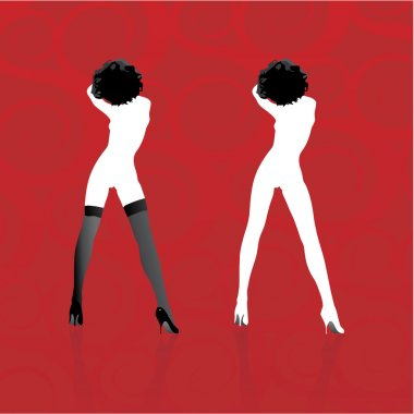 Two woman silhouettes in vector format