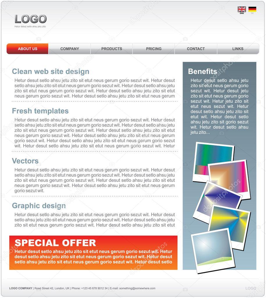 saubere Web 2.0 Website-Templates im Vektor-format — Stockvektor ...
