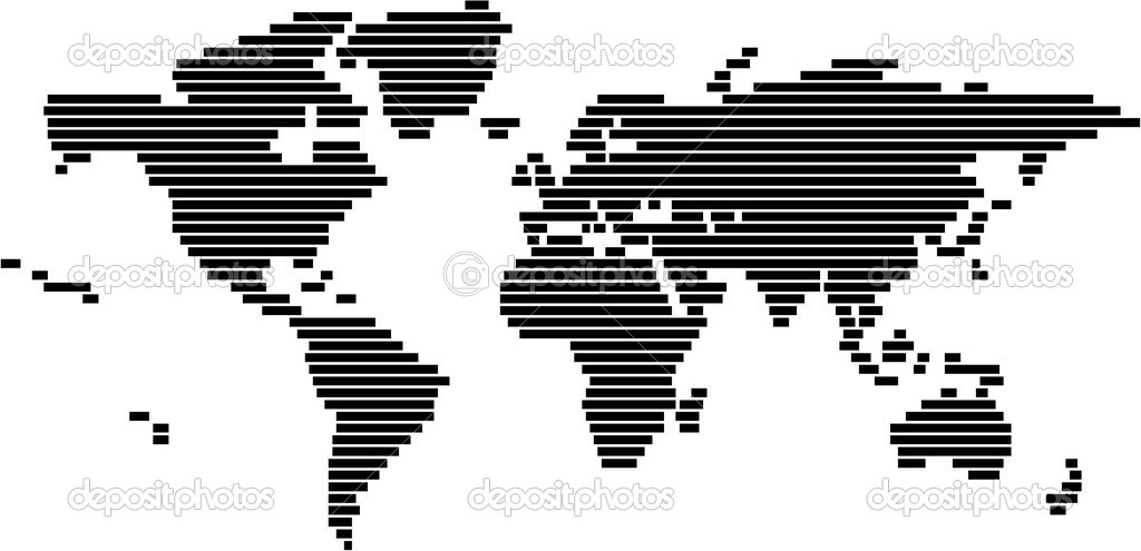 World map in vector format black and white lines vector de stock world map in vector format black and white lines vector de stock gumiabroncs Gallery