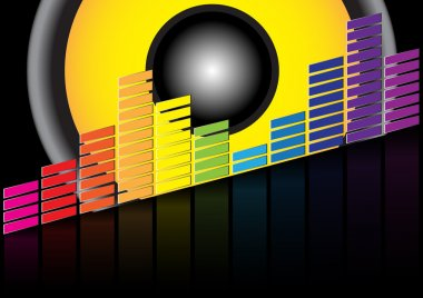Party Background - Equalizer and Loudspeaker on Black Background stock vector