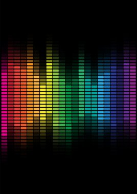 Abstract Background - Multicolor Equalizer on Black Background stock vector