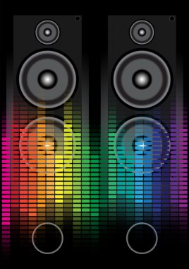 Party Background - Loudspeaker and Multicolor Equalizer on Black Background stock vector