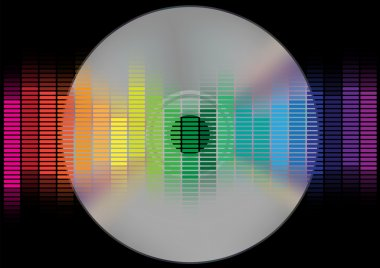 Abstract Background - Multicolor Equalizer and CD disc on Black Background stock vector
