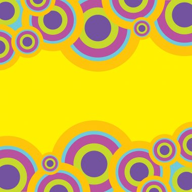 Retro Abstract Background - Circles in Pastel Colors on Yellow Background stock vector