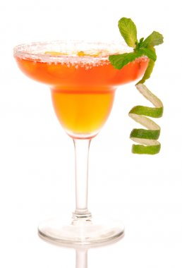 Margarita cocktail with lime strawberry and mint