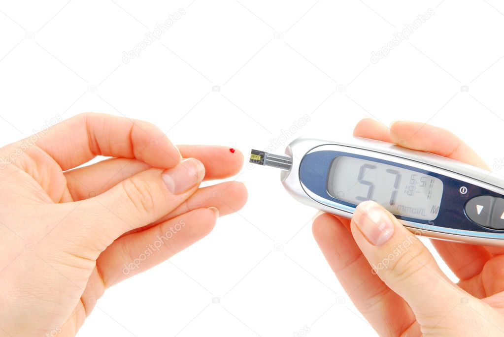 Diabetes person doing glucose level blood test