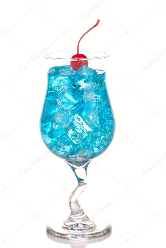 Blue Hawaiian Lagoon Cocktail with with malibu