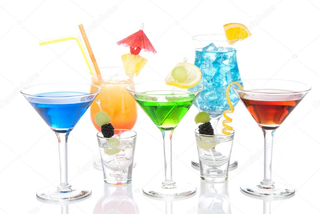 Various types of alcohol Cocktails