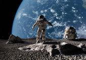 astronaut na pozadí planety