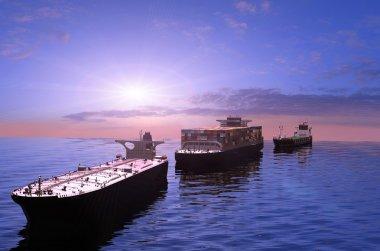 The cargo ships