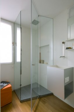 Shower cubicle with glass partition
