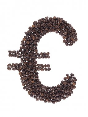 Euro symbol made with a coffee grain