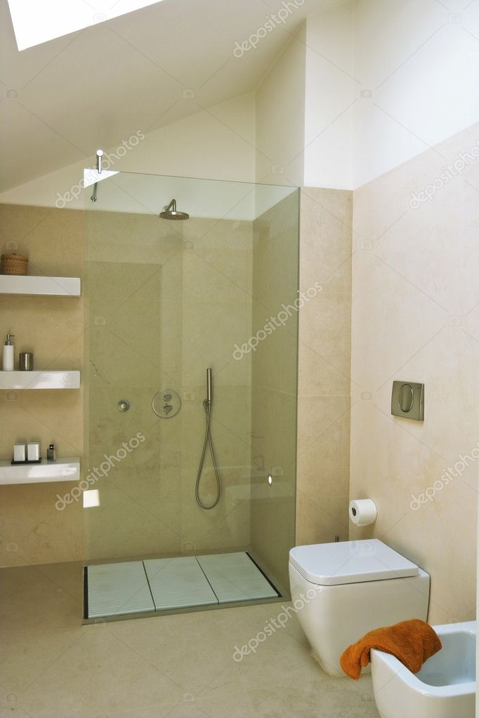 Shower Cubicle With Glass Partition In Modern Bathroom U2014 Stock Photo  #4667943
