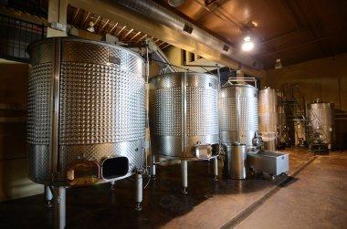 Vats in a cellar wine distillery. stock vector