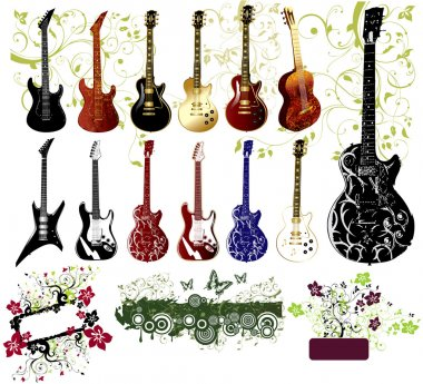Vector collection of guitars and ornaments