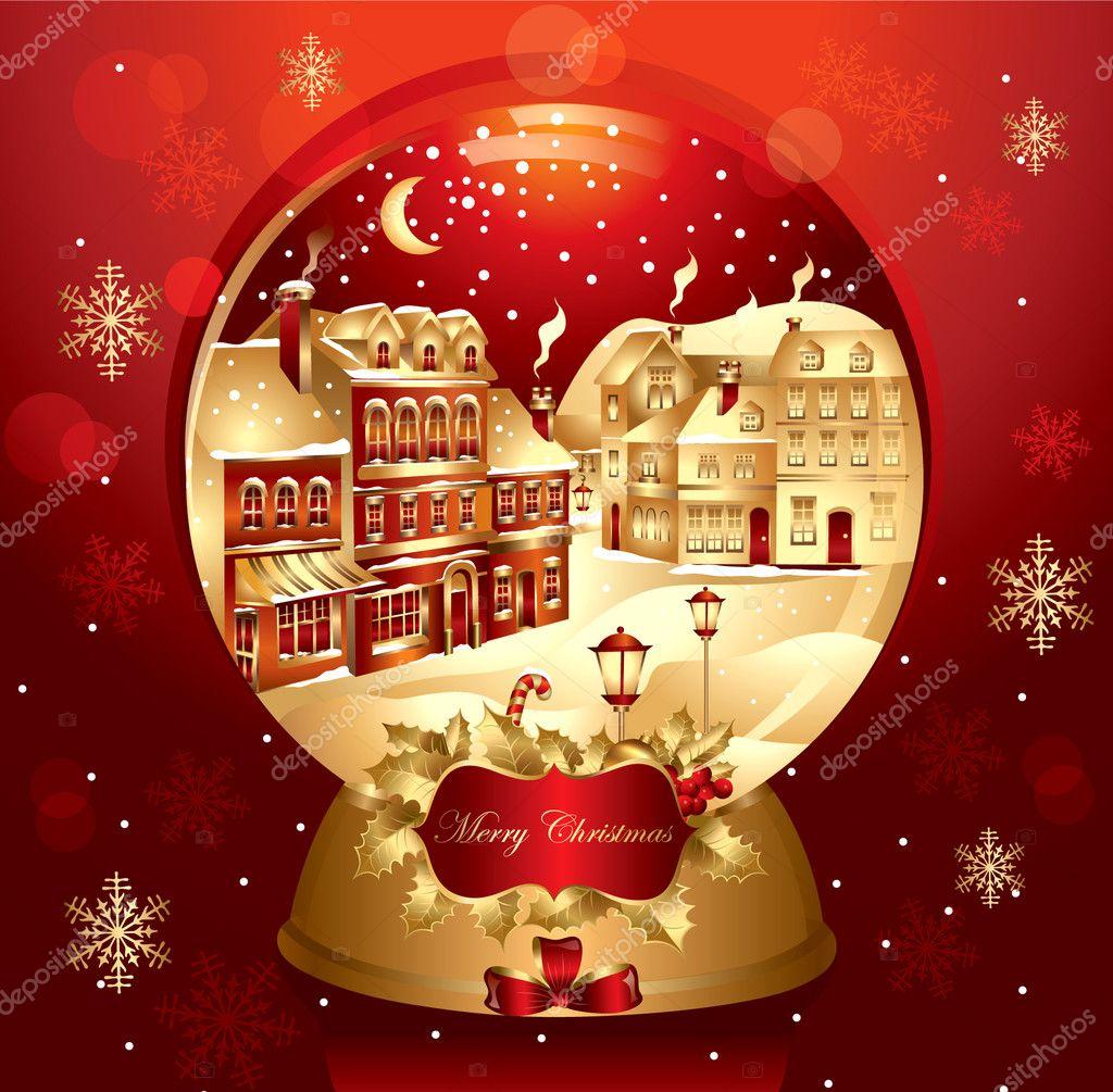 vektor weihnachten schneekugel mit stadt — Stockvektor © marinamik ...