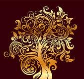 Fotografie schöne gold baum mit blüten und locken