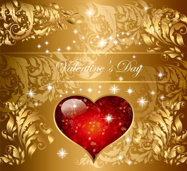 Beautiful holiday gold card with heart