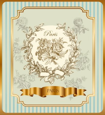 Pastel vector label with wreath and roses