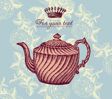 Retro design with teapot