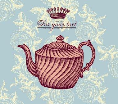 Retro design with teapot