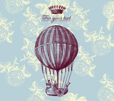 Vector vintage card with baloon