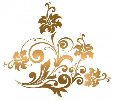 Beautiful gold ornament with flowers and curls clip art vector