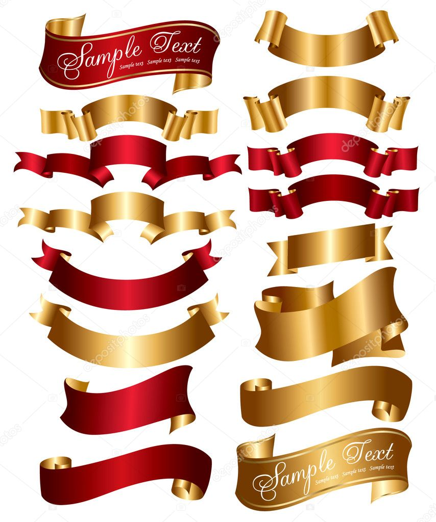 Collection of red and gold ribbons